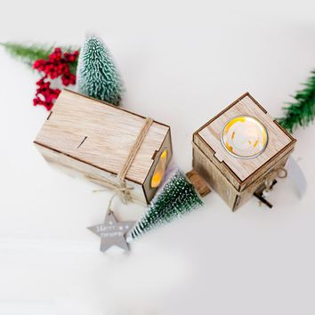 Wood Candlestick Candle Holder Christmas Decorative Lanterns With Hanging Star Christmas Tree Decoration Wedding Home Decor Gift