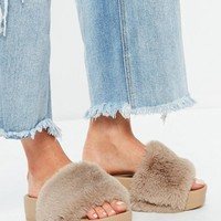 Missguided - Brown Faux Fur Flatform Sliders