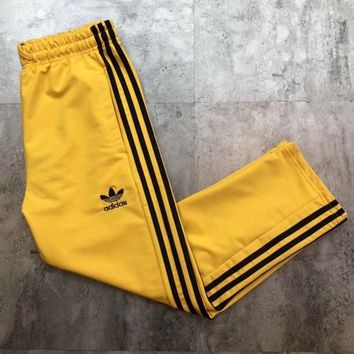 ADIDAS Hot Sale Multicolor Trouser Women Men ELASTIC WAISTBAND Lovers Pants B-MG-FSSH Yellow