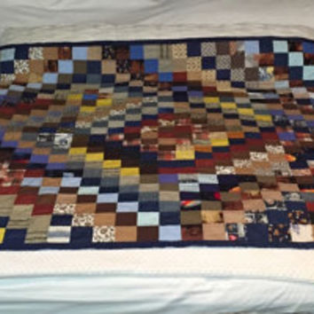 Reversible hand stitched quilt, summer throw, brown and blue florida blanket, hand made blanket