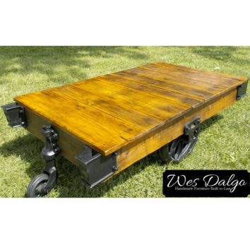 Authentic Reclaimed Factory Industrial Warehouse Cart Coffee Table