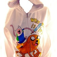 "Adventure Time Mens Hoodie - Finn Riding Jake ""What Time Is It?"" on White (Large)"