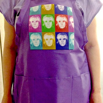 Apron - Warhol Self Portrait Parody, Crafter, Teachers' PURPLE Full Chef - Pop Art - Unisex- Fine Art Apron by Feralartist