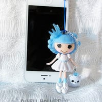 CLEARANCE SALE Lalaloopsy Ice Princess Cell IPhone Doll Anti-Dust Plug Charm Handmade Cell Charm Jewelry