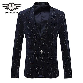 Men Blazer Slim Fit Men Corduroy Blazers Casual Men Striped Blazer Business Formal Jacket