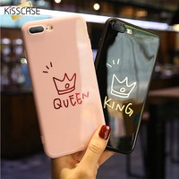 KISSCASE Soft Silicon Phone Case For iPhone 6 6s Glossy Cute KING QUEEN Couple Back Cover For iPhone X 8 7 6 6S Plus Accessories