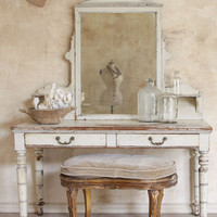 Antique French Provincial Mirror and Vanity in Cream - $1955 - The Bella Cottage