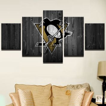 Ice Hockey Sports Pittsburgh Penguins 5 Pcs Wall Art Game Room Modular Picture