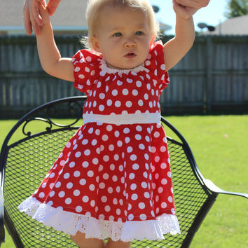 Minnie Mouse dress, Red and white polka dot , infant, baby, toddler, costume, peasant style