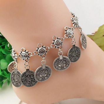 DCCKL72 Barefoot woman standing ankle old silver plated bracelet charm jewelry Coin jewelry accessory anklet