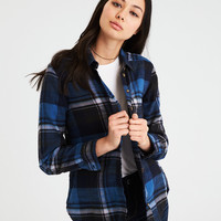 AE PLAID BOYFRIEND BUTTON-DOWN SHIRT, Blue