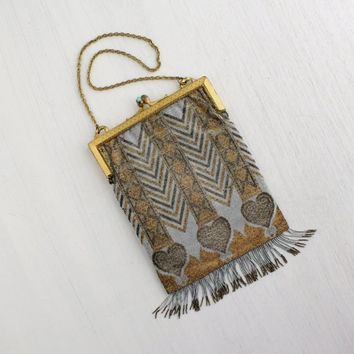 Antique Genuine 1920s Beaded Purse - Vintage French Flapper Art Deco Handbag / Steel Cut Hearts