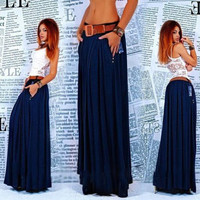 Solid Pleated Zipper Long Beach Skirt