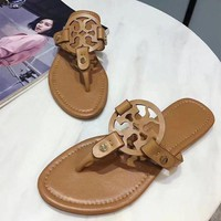 Tory Burch 2018 Tide Fashion Women Sandals Slippers F brown