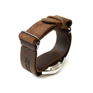 AtelierPall Watch Strap in brown leather watch cuff nato strap zulu strap military leather watch strap