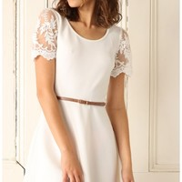 Party dresses > White A-Line Dress with Lace Sleeves