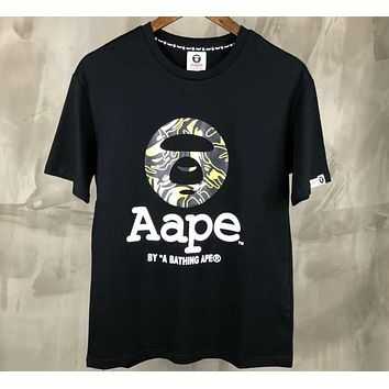 AAPE 2018 classic camouflage printing men and women with the same paragraph casual wild T-shirt F-XMCP-YC black