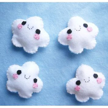 Happy Cloud Keychain or Phone Charm - Felt Keychain, Kawaii Plush , Dust Plug