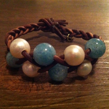 Pearl & Agate Leather Bracelet by lmouer on Etsy