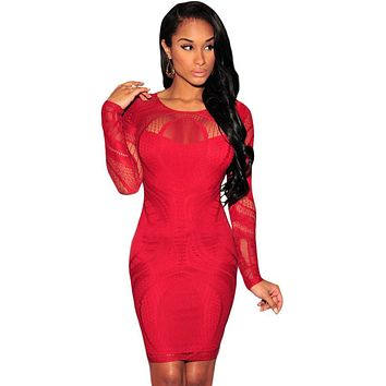 Red Lace Nude Illusion Long Sleeves Bodycon Dress