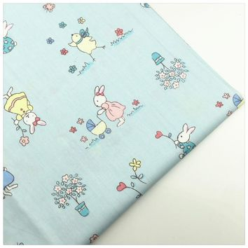 Syunss,Lighjt Blue Rabbit Printed Cotton Fabric Sewing Baby Toy Bedding Quilting Cloth Craft Tecido DIY Tissu Patchwork Telas