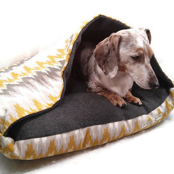 Cozy Cave Dog Cat Pet Bed with Blanket Attached
