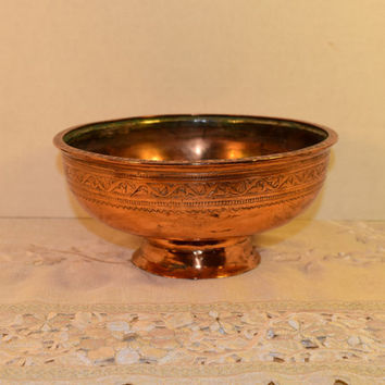 Copper Planter Vintage Etched Copper Cauldron Footed Pot Arabic Planter Prayer Bowl Middle Eastern Copper Kitchen Copper Collectible