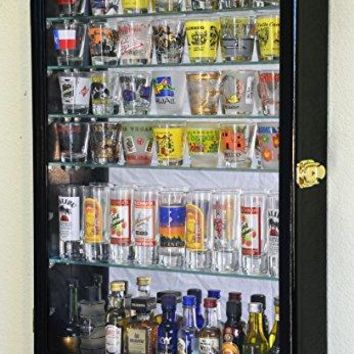 Large Mirror Backed and 7 Glass Shelves Shot Glasses Display Case Holder Cabinet , Black