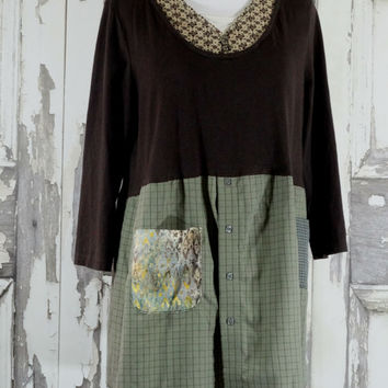 Plus Size Brown and Green Loose Fit Tunic Dress Junk Gypsy Boho Chic Upcycled Clothing Tunic Dress Romantic Clothing