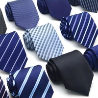 8CM Width Necktie For Men Fashion Formal Suit Leisure Neckwear Necktie Gentlemen Commercial Casual Dark Blue Stiped Neck Ties