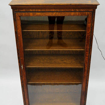 Antique Oak Wood Wavy Glass One Door Bookcase Curio Display Cabinet 54 x 30