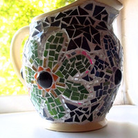 Mosaic Pitcher, Flowers, Retro, Hippie Decor, Flower Power, Home Decor, Recycled, Reused, Stained Glass Mosaic, Upcycled, Vase