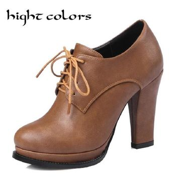New Fashion Vintage Lacing Pointed Toe Thick Heels Women Pumps England Style  Oxfords Shoes
