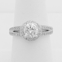 1 Carat Split Shank Halo with Milgrain Cubic Zirconia Engagement Ring (Silver) by CZ Sparkle Jewelry®