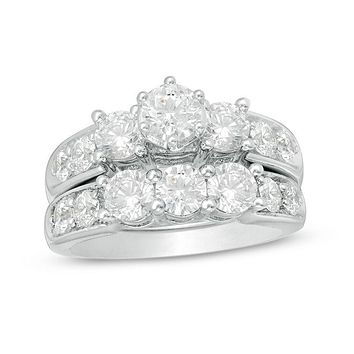 3 CT. Diamond Three Stones Bridal Engagement Ring Set 14K White Gold