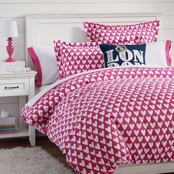 Sweethearts Flannel Duvet Cover + Sham, Pink Magenta