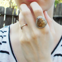 Regency rose plume agate sterling silver cocktail ring, earthy inclusions, semiprecious gemstone, artisan jewelry, size 8