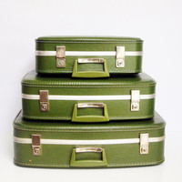 Avocado Green Nesting Suitcase Set