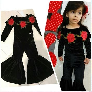 USA Cute Toddler Kids Girl Flower Velvet Flared Romper Jumpsuit Playsuit Clothes