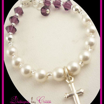 First Communion Bracelet Cross Pearl Rosary Bracelet Crystal Sterling Silver Rosary Prayer baptism christening gift  flower girl baby shower