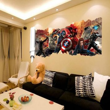 popular super hero wall decal gift  Avengers movie character stickers for kids bedroom home decoration mural art 46*90cm Y001