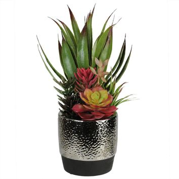 "15"" Artificial Succulents and Agave in Decorative Silver Ceramic Pot"