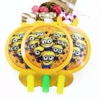 6Pcs/set Minions Party Supplies BlowOut Noise Maker Kid Boy Birthday Cartoon Decoration Horn Blowouts Supplies party decorations