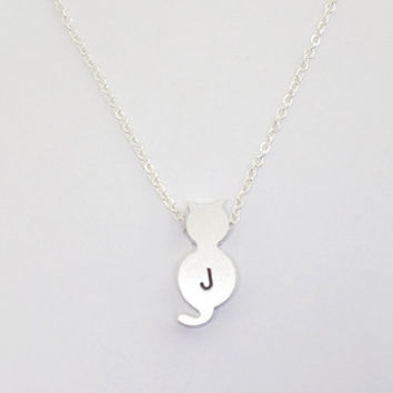 Kitty cat, Initial silver cat necklace, minimalist, small, dainty, everyday necklace