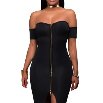 Black Off Shoulder Front Zip and Slit Dress