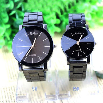 Fashion Couple Women Men Stainless Steel Watches Analog Quartz Movement Wrist Watch = 1929744388