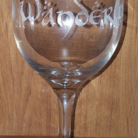 Laser Engraved Wanderlust Wine Glass in LOTR Font ~ Wine ~ Travel