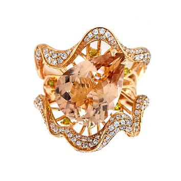 6.88tcw Pear Morganite with Diamonds in 18K Rose Gold Statement Cocktail Ring