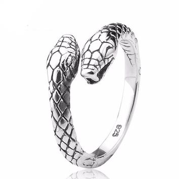SERPENT RESIZABLE RING / PURE 925 STERLING SILVER