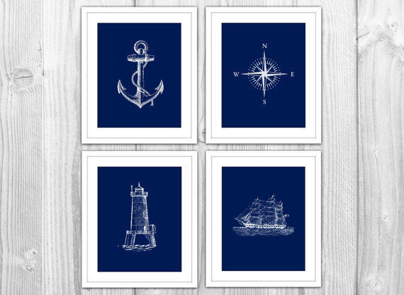 Navy nautical set of 4 art prints navy from bysamantha for Navy bathroom decor